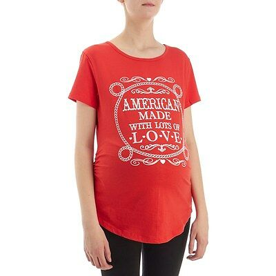 NWT EXTRA LARGE XL Maternity Top Shirt CINCHED RED American Made With Lots Love