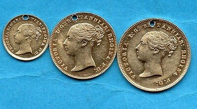 1858 Silver Maundy Coins. Fourpence Threepence Penny, Victoria Pierced & Gilded