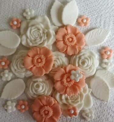 APRICOT//IVORY ROSE BOUQUET Edible sugar cake topper Wedding birthday cupcakes