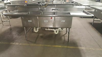 FMI Stainless Steel 3 Compartment Commercial Sink with Two Drainboards