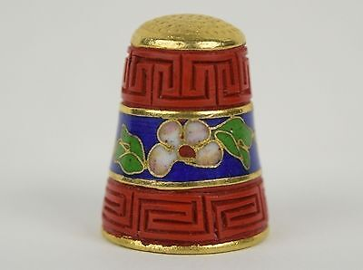 Beautiful Carved Cinnibar and Cloisonne Thimble #1 - Sewing Collectibles