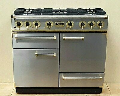 Falcon 110 Cm Duel Fuel Range Cooker In Stainless Steel And Brass