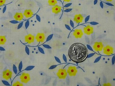 "Vintage Yellow Slate Blue Floral Cotton/Poly Dress Doll Fabric 10""x 4+ yds"