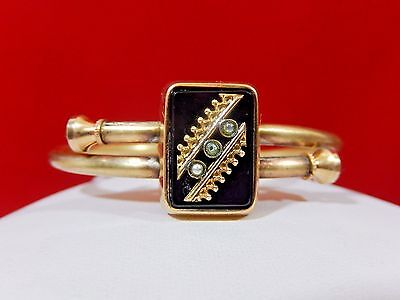 Rare 1879  Victorian Etruscan Gf Black Onyx Seed Pearl Mourning Hinged Bracelet