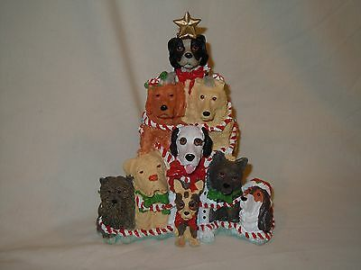 Resin Christmas Dog Figurine Collectible Cairn Terrier Dalmatian Border Collie
