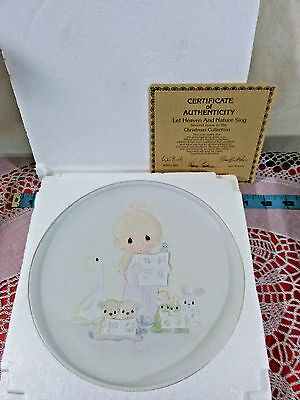 """Precious Moments Plate """"LET HEAVEN AND NATURE SING""""  IN BOX Enesco Nursery Decor"""