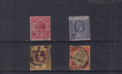 St Lucia George V 1921-30 Four values to 4d used