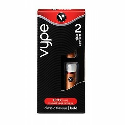 VYPE LIQUID RELOAD CARTRIDGES Classic Flavour BOLD Packs of 2 in box, NEW.