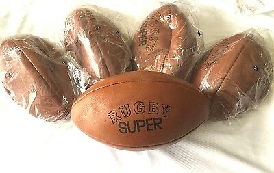 Brand New Rugby Ball Sports Pure Leather Vintage (lot of 5)