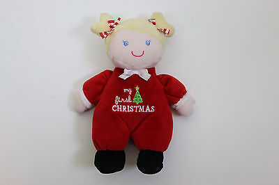 """Doll Blonde Girl My First Christmas 9"""" Baby Starters Soft Stuffed Plush Rattle"""