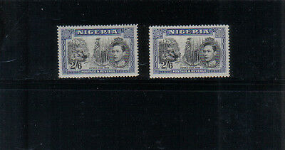 Nigeria George VI 2/6d Two very lightly mounted mint values