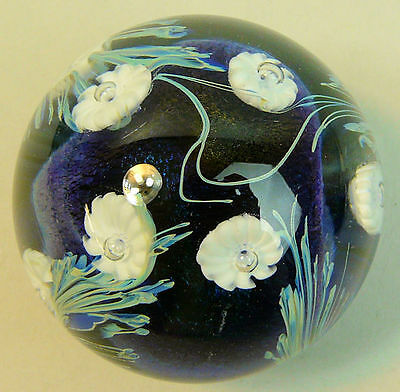 A Fine And Decorative Okra Art Glass Paperweight C.1983