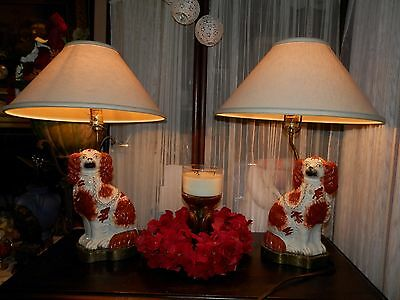 INCREDIBLE Antique Pair Staffordshire Blenheim King Charles Cavalier Lamps