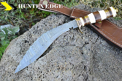 LAVER'S Hand Made Damascus Steel Hunting Knife  *** DAMASCUS KUKRI ***