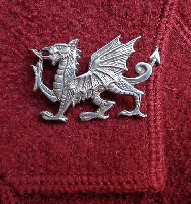 Vintage Silvery Celtic Beastie Brooch Large Bold WELSH DRAGON (free shipping)