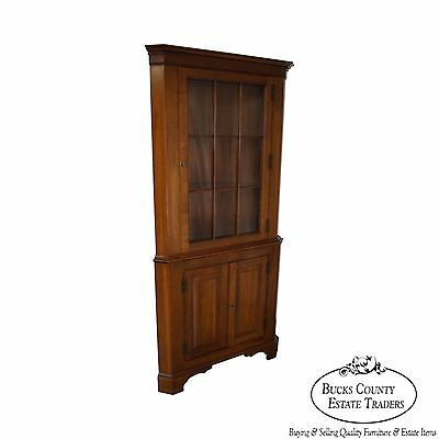 Vintage Solid Cherry Chippendale Style Corner Cabinet