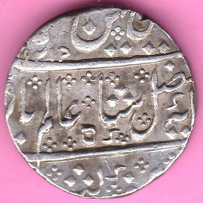 French India-Arkat Mint-Ah:1215/ry:44-Shah Alam-One Rupee-Rarest Silver Coin-60
