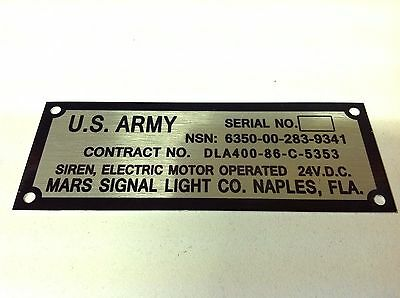 US ARMY VEHICLE jeep data plate quality vin-tage new