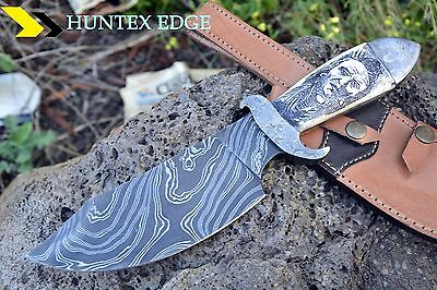 "HUNTEX 1of Kind Damascus 10""Hand Engraved Red Indian Scrimshaw Art Hunting Knife"