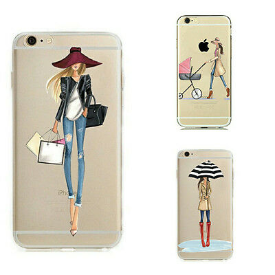 Clear Transparent Modern Fashion Girl Thin TPU Cover Case For iPhone 7