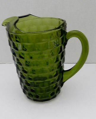 Pitcher 64 ounce Whitehall Colony Cubist Avocado Green Indiana Glass Ice Lip