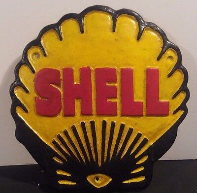 Cast Iron Vintage Style SHELL LOGO Sign Wall Plaque AUTOMOBILE Gas & Oil DECOR