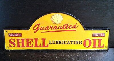 VERY LARGE Cast Iron SHELL OIL Sign Wall Plaque AUTOMOBILE Gas & Oil DECOR