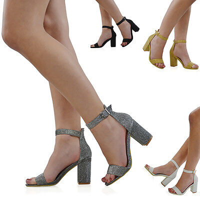 New Womens Ankle Strap Block Heel Sandals Ladies Glitter Party Prom Bridal Shoes