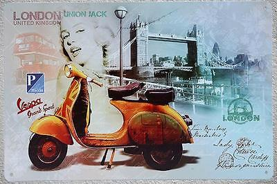 Targa vespa london stampa metallo vintage retrò pub bar poster arredo