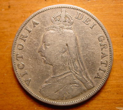 Lovely British Queen Victoria Silver Double Florin 4 Shilling Coin 1889