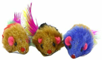 Cat Toy Small Fur Mouse With Feather Tail - Buy 4 Get A 5Th Free