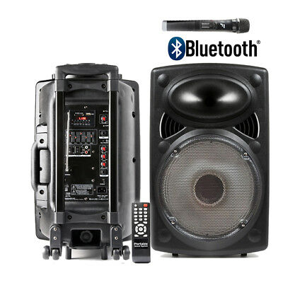 Portable Pa Speaker System Inc Wireless Microphone Remote Control Bluetooth Mp3