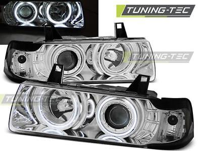 Coppia Fari Anteriori Bmw E36 12.90-08.99 C/c Angel Eyes Chrome