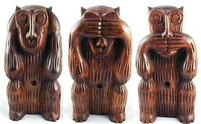 Hear, See, Speak No Evil Set of 3 Monkeys 8 Inches Tall Hand Carved in Thailand