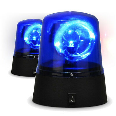 Rotating Blue LED Police Car Beacon Siren Warning Lights Disco Party Strobe Pair