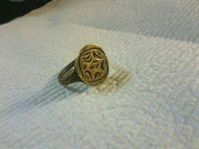 Ancient Medieval Bronze Ring With Designs