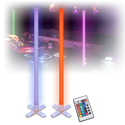 Mood Lighting Colour Changing LED Tube Lights DJ Disco Party Remote 1M (Pair)