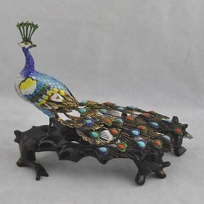 China c.1900 Estate Rare Fine Silver Filigree Enamel Peacock Bird Figurine