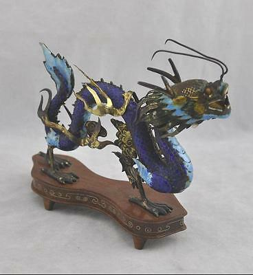 Oriental Rare Estate Fine Silver Enamel Chinese Dragon on Stand Figurine