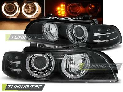 Coppia Fari Anteriori Bmw E39 09.95-06.03 Angel Eyes Black Led Indic.