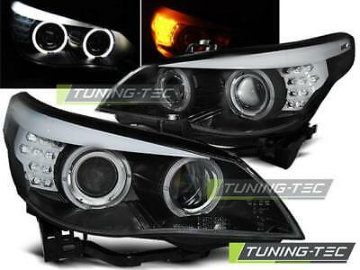 Coppia Fari Anteriori Bmw E60/e61 03-07 Black Led Indic.