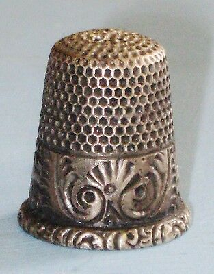 Antique Ketcham & McDougall Sewing Thimble Sterling Silver Scroll Band size 7