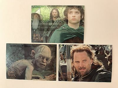 PROMO CARDS: LORD OF THE RINGS TRILOGY CHROMIUM 2004 Topps: 3 DIFFERENT P1 P2 P3