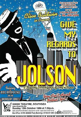 Clive Baldwin (Give My Regards To Jolson). Genuine Original Hand Signed 1996 Fly