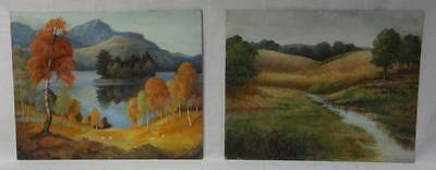 Pair of Vintage Oil on Board Paintings..Sheep & Summer Stream Scene Unsigned