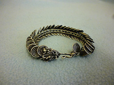 Chinese  Silver Metal Dragon Head Articulated Bracelet