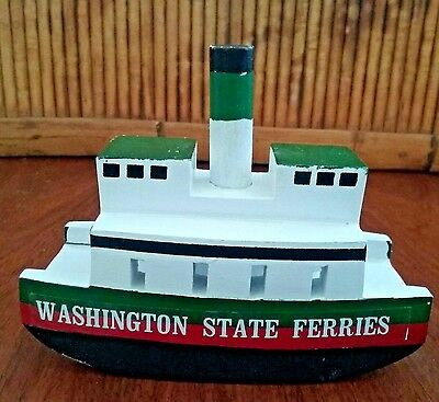 "wooden boat ornament souvenir Washington State Ferries hand painted & carved 4""L"