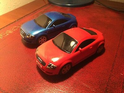2 Vintage Scalextric Sport Audi Tt Red And Blue Unboxed Car Tested