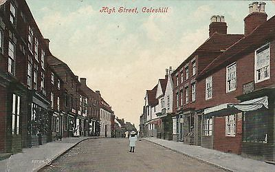 Printed Postcard. High Street, COLESHILL. Posted 1905.