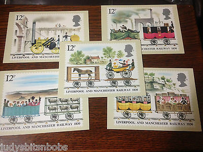 1980 Liverpool Machester Railway Phq Cards Full Set With Stamps Fdc
